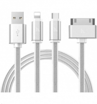 Кабель HOCO 3-В-1 UPL12 One Pull Three Metal Jelly Knitted Charging Cable Lightning Micro Apple 30 PIN (Серебро)