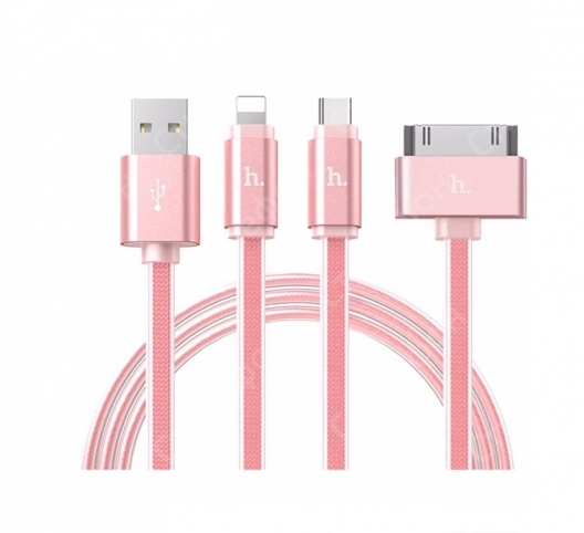 Кабель HOCO 3-В-1 UPL12 One Pull Three Metal Jelly Knitted Charging Cable Lightning Micro Apple 30 PIN (Розовое золото)