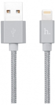 Кабель плетеный для Apple Hoco UPF01 Metal MFI Charging Cable 1.2м (Серый космос)