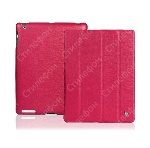 Jisoncase Smart Leather Cover for Apple New iPad 3 / iPad 2 (Rose Red)