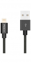 Кабель USB Lightning Rock MFI Charge & Sync Round Cable II 30см (Черный)