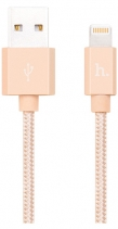 Кабель плетеный для Apple Hoco UPF01 Metal MFI Charging Cable 1.2м (Золото)