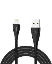 Кабель USB Lightning Rock Metal Data Cable 100см (Черный)