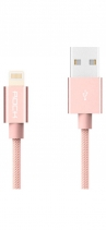 Кабель USB Lightning Rock MFI Charge & Sync Round Cable II 30см (Розовый)