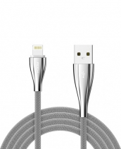 Кабель USB Lightning Rock Metal Data Cable 100см (Серебро)