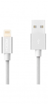 Кабель USB Lightning Rock MFI Charge & Sync Round Cable II 30см (Серебряный)