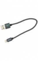 Кабель USB / Lightning Rock Metal Charge & Sync Round Cable 20cm (Черный)