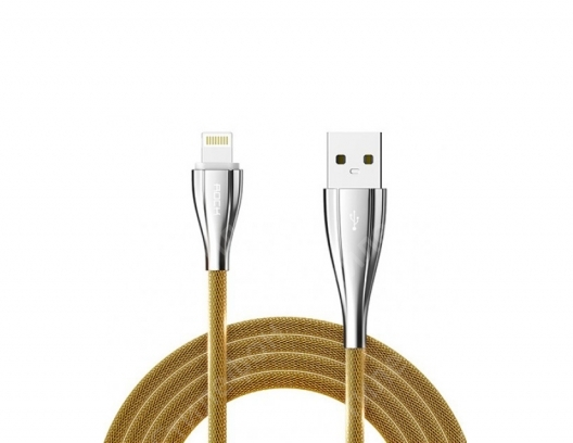 Кабель USB Lightning Rock Metal Data Cable 100см (Золотой)