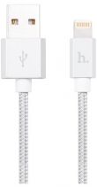 Кабель плетеный для Apple Hoco UPF01 Metal MFI Charging Cable 1.2м (Серебро)